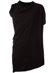 Rick Owens Lilies Asymmetric Draped T Shirt Black