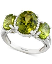 Effy Peridot Three Stone Ring 4 Ct. T.W. In Sterling Silver Green