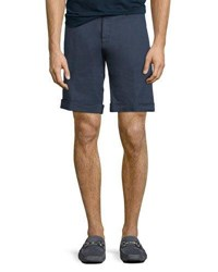 Etro Washed Linen Cotton Stretch Bermuda Shorts Navy