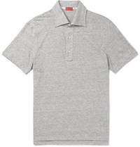 Isaia Slim Fit Space Dyed Knitted Linen And Cotton Blend Polo Shirt Gray