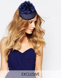 Johnny Loves Rosie Fascinator In Navy With Roses Navy