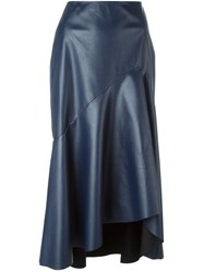 Cedric Charlier Asymmetric Mid Length Skirt Blue