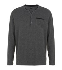 Hugo Boss Jersey Lounge Henley T Shirt Male Grey