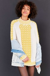 Bdg 3D Cable Knit Pullover Sweater Yellow