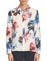 Cece Floral Long Sleeve Button Down Shirt Pink Jasmine