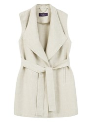 Violeta By Mango Long Linen Blend Vest Jacket Light Beige