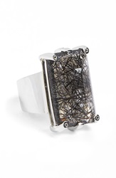 Anna Sheffield 'Eshel' Rutilated Quartz And Champagne Diamond Ring Sterling Silver