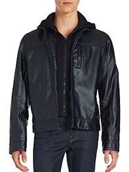Calvin Klein Layered Faux Leather Zip Front Jacket Black