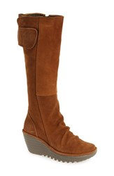Fly London Women's 'Yulo' Knee High Wedge Platform Boot Camel Oil Suede