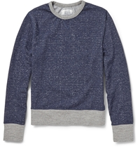 Officine Generale Melange Knit Cotton Sweatshirt Blue