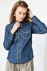 Urban Outfitters Uo Western Button Down Shirt Indigo
