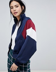 Bershka Colour Block Bomber Jacket Navy