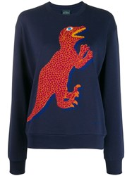 Paul Smith Ps Dinosaur Embroidered Sweater Blue