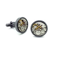 Lc Collection Black Vintage Watch Movements Cufflinks