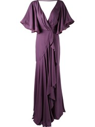 Emannuelle Junqueira Long Pleated Party Dress Pink And Purple