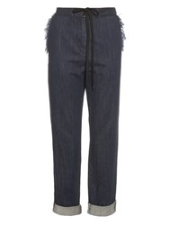 Tomas Maier Frayed Edge Drawstring Denim Trousers