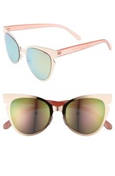 A. J. Morgan Women's A.J. Buns 53Mm Cat Eye Sunglasses Rose Gold Pink Mirror Rose Gold Pink Mirror