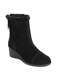 Aerosoles Bravery Faux Fur Trim Suede Ankle Boots Black