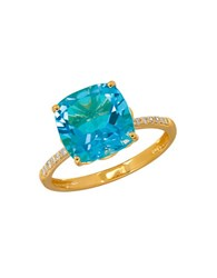 Lord And Taylor 0.07Tcw Diamonds Topaz 14K Yellow Gold Ring