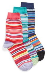Paul Smith Gizzy 3 Pack Assorted Multi Stripe Crew Socks Pink Multi