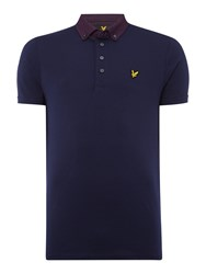 Lyle And Scott Men's Short Sleeve Woven Collar Jersey Polo Shirt Navy
