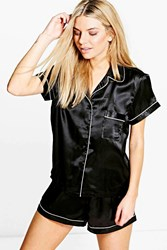 Boohoo Contrast Piping Satin Button Tshirt Short Set Black
