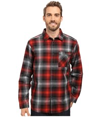 Mountain Hardwear Reversible Plaid Long Sleeve Shirt Dark Fire Men's Long Sleeve Button Up Orange