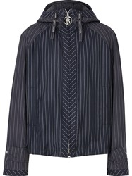 Burberry Pinstriped Wool Hooded Jacket Blue