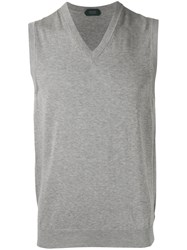 Zanone V Neck Sweater Vest Grey