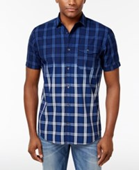 Inc International Concepts Men's Ombre Plaid Shirt Only At Macy's Navy