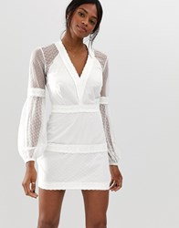 The Jetset Diaries Gardenia Mini Dress With Puffball Sleeves White