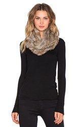 Joie Javone Rabbit Fur Infinity Scarf Brown