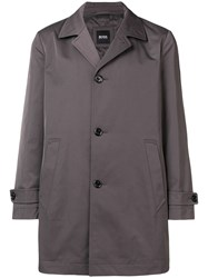 Hugo Boss Buttoned Single Breasted Trench Coat Brown