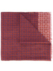 Corneliani Printed Scarf Men Silk Cotton One Size Red
