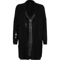 River Island Womens Black Oversized Ladder Knit Cardigan
