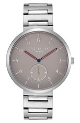 Ted Baker London Josh Bracelet Watch 42Mm Light Grey Stainless Steel