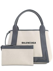 Balenciaga Sm Navy Cabas Cotton Canvas Bag Natural