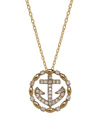 Lord And Taylor 14K Yellow Gold Diamond Anchor Necklace Diamond Gold