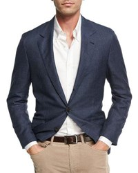 Brunello Cucinelli Wool Blend Twill Jacket Denim