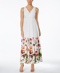 Calvin Klein Cotton Floral Border Surplice Maxi Dress Watermelon Multi