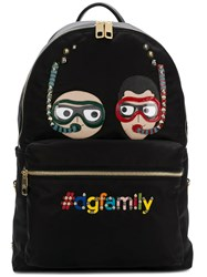 Dolce And Gabbana Dg Family Embroidered Backpack Black