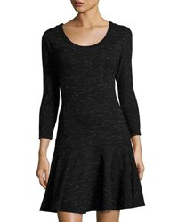Three Dots Dolman Sleeve Drop Waist Dress Black