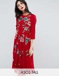 Asos Tall Premium Midi Skater Dress With Floral Embroidery Oxblood Red