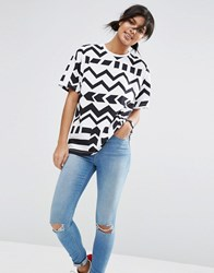 Asos T Shirt In Oversized Fit And Block Chevron Print Multi
