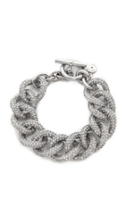 Michael Kors Pave Curb Link Toggle Bracelet Silver Clear