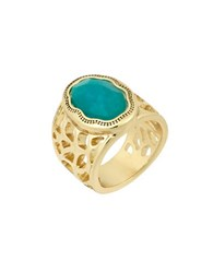 Laundry By Shelli Segal Pacific Highway Goldtone Center Stone Ring Turquoise