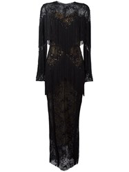 Zuhair Murad Slip Tassel Maxi Dress Black