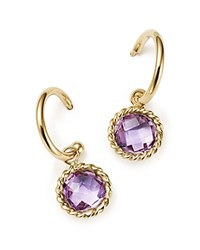 Bloomingdale's Amethyst Drop Hoop Earrings In 14K Yellow Gold Purple Gold