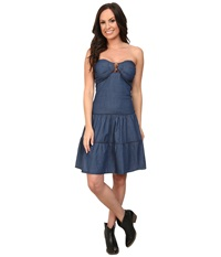 Roper 9751 5 Oz Indigo Denim Flounced Dress Blue Women's Dress