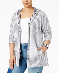 Styleandco. Style Co. Plus Size Striped Hooded Sweater Only At Macy's Industrial Blue